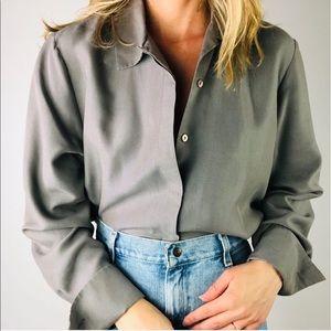 VINTAGE ANNA & FRANK Grey Silk Button Down Shirt L